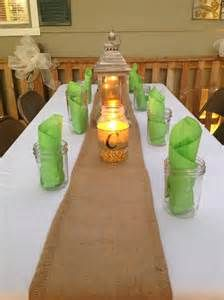 Just use burlap as runner Rehearsal Dinner Decorations, Rehearsal Dinner Invitations, Wedding Rehearsal, Rehearsal Dinners, Reception Decorations, Table Decorations, Casual Dinner Parties, Reception Layout, Dinner Party Table