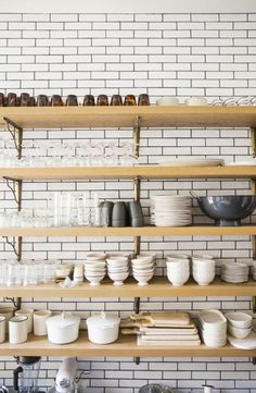 2014 Home Decor Trends: Open Shelving! Tons of great ideas to incorporate open shelving in YOUR home! Kitchen Shelves, Kitchen Dining, Kitchen Decor, Wood Shelves, Taupe Kitchen, Kitchen Storage, Kitchen Walls, Kitchen Tile, Kitchen Styling