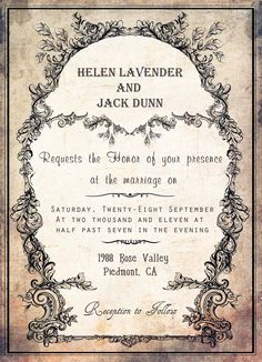 """OLD Printable Vintage Wedding Invitation in Moss Green - Size 5""""x7"""". $30.00, via Etsy."""