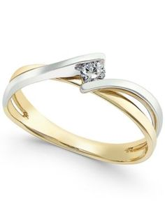 Diamond Two-Tone Twist Promise Ring (1/10 ct. t.w.) in 10k Gold White Gold - Gold