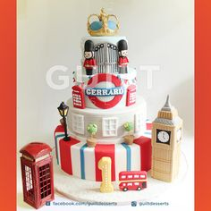 London Cake by Guilt Desserts … Cupcakes, Cupcake Cakes, Beautiful Cakes, Amazing Cakes, Toddler Birthday Cakes, Birthday Ideas, British Cake, London Cake, London Party