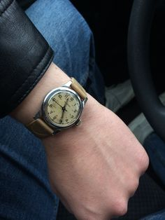 """Wearing a personal military-style steel Longines """"sei-tacche"""" this Memorial Day. Gotta love some patina! Hope everyone enjoyed the holiday.  #longines #military #patina #vintage #watches #watch #wristwatch #vintage #classic #stawc"""