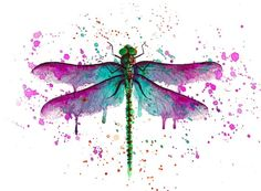 Watercolor Dragonfly Tattoo, Dragonfly Painting, Dragonfly Wall Art, Dragonfly Tattoo Design, Watercolor And Ink, Watercolour Painting, Watercolours, Watercolor Tattoos, Tattoo Designs