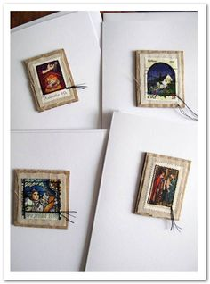 Postage Stamp Cards - Phizzychick. Fabric or book pages. CAS