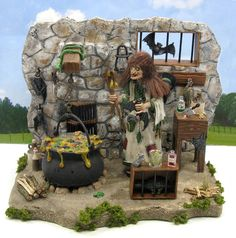 1965 Aurora The Witch Model Kit Built-Up by D.A. Clayton.  This is a custom, one of a kind diorama.
