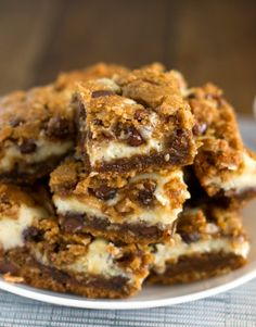 Peanut Butter Chocolate Chip Cream Cheese Cookie Bars