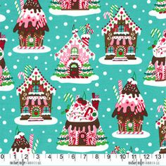 FABRIC GINGERBREAD HOUSES on aqua by DorothyPrudieFabrics