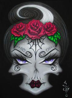 8 x 10 impression gothique Fantasy Lowbrow est passé le jour de la mort Dia De Los Muertos Skull Tattoo fleur femme visage Reproduction par Natalie VonRaven