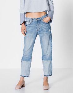 Pull&Bear - mujer - ropa - jeans - jeans boyfriend detalle color en bajo - azul - 09686338-I2016