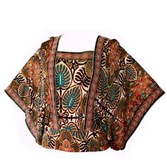 Colorful Jean Paul Gaultier Soleil Mesh Angel Sleeve Blouse Top Size L | From a collection of rare vintage blouses at https://www.1stdibs.com/fashion/clothing/blouses/