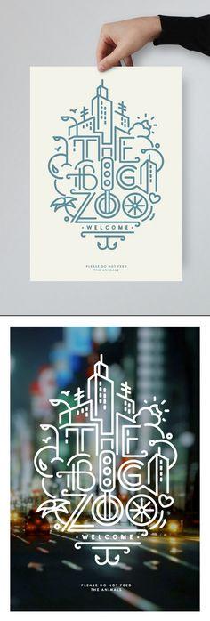 Javi Bueno → THE BIG ZOO - Design graphique, Design d'icônes, Illustration . Icon Design, Layout Design, Graphisches Design, Line Design, Graphic Design Inspiration, Design Ideas, Design City, Graphic Design Typography, Graphic Design Illustration