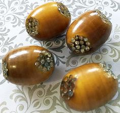 Set of Vintage Celluloid Barrel Buttons with Rhinestones