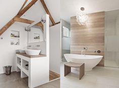Une salle de bains en blanc et bois - Charlotte and the Teapot - Alles Home, Modern Bathroom, Wood Bathroom, House Design, Sweet Home, Modern Houses Interior, Large Baths, Bathroom Design, Bathroom