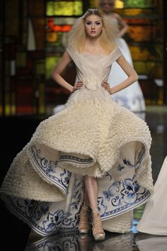 PARIS – JANUARY 26: (UK OUT) A model walks the runway at the Christian Dior fashion show during Paris Fashion Week Haute