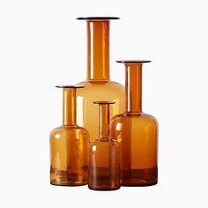Creator: Brauer, Otto Manufacturer: Holmegaard Design Period: 1960 to 1969 Materials: Glass Dimensions: Width: 20, Depth: 20, Height: 50, Diameter: 20 Small Bottles, Glass Bottles, Glass Vase, Colored Vases, Genie Bottle, Modern Glass, Ceramic Vase, Decorative Objects, Art Decor