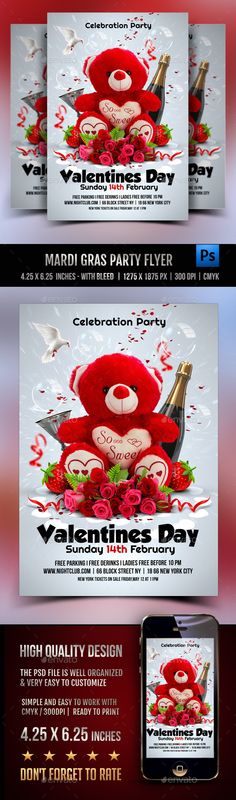 Buy Valentines Day Party by Rembassio on GraphicRiver. Valentines Day Party This high quality design flyer can also be used for a new event promotion or other advertising p. Valentines Day Desserts, Valentines Day Party, Romantic Roses, Elegant Flowers, Love Design, Web Design, Graphic Design, 100 Free Fonts, Mardi Gras Party