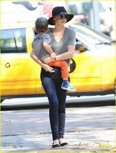 Miranda Kerr takes her son Flynn for a stroll on October 4, 2013