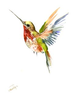 Flying Hummingbird original watercolor painting 12 X 9 in by ORIGINALONLY on Etsy