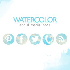 NEW FREE SOCIAL MEDIA ICONS WATERCOLOR INSPIRED - Yes, FREE, from the Shoppe! Yours to download!