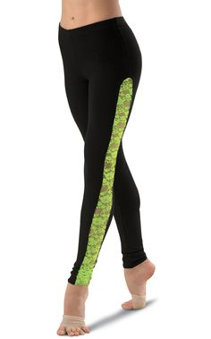 Neon Lace Inset Leggings would work great for a contemp. Dance put a green sports bra for competitions or a green tank and some sort of cover black for jazz or recital