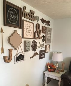 Rustic farmhouse inspired gallery wall in our living room! I love it so far!! Living room ideas, pictures, chic, gallery