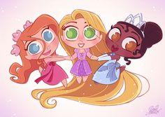 Chibi Tiana | David Gilson trás três lindezas juntas: Giselle, Rapunzel e Tiana ...