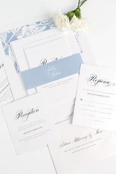 Garden Wedding Invitations in a Dusty Blue | Timeless Wedding Invites | Monogram | Calligraphy Stationery Suite