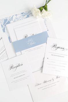 Garden Wedding Invitations in a Dusty Blue | Timeless Wedding Invites | Monogram…