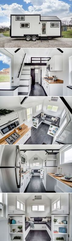 Domino by Modern Tiny Living - Tiny LivingThanks for this post.The Domino is a tiny home built by Modern Tiny Living. Based on their popular Kokosing model, the bold design features dark floors and trim contrasting white wa# Domino Tiny House Design, Home Design, Home Interior Design, Design Ideas, Design Inspiration, Tiny House On Wheels, Small House Plans, Tiny House Living, Small Living