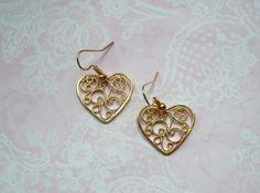 Ohrringe filigrane Herzen gold von MiMaKaefer auf DaWanda.com