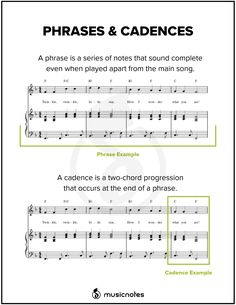 Phrases and Cadences Phrases and cadences tend to be a more confusing subject for beginning music theory students. This guide will aid in providing some definitions and instruction. Music Theory Piano, Music Theory Lessons, Online Music Lessons, Piano Lessons, Piano Music, Sheet Music, Piano Jazz, Piano Sheet, Art Lessons