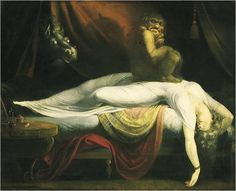 John Henry Fuseli The Nightmare, , Institue of Arts, Detroit. Read more about the symbolism and interpretation of The Nightmare by John Henry Fuseli. Fantasy Boy, Scary Paintings, Goya Paintings, Fantasy Paintings, Art Noir, William Blake, Bizarre, Caravaggio, Dark Art