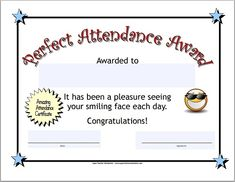 Certificate template for kids perfect attendance award certificates acknowledge your students dedication and hard work with this printable perfect attendance certificate yelopaper Images