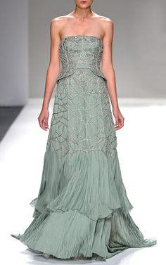 Strapless Hand Pleated Chiffon Gown With Antique Silver Beading by BIBHU MOHAPATRA for Preorder on Moda Operandi