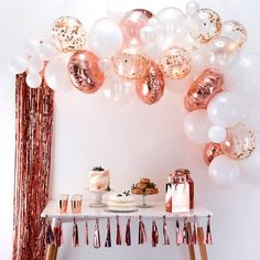 This Ginger Ray Rose Gold Balloon Arch Kit includes balloon tape and rose gold and white balloons that come in different sizes and designs. Use this balloon arch kit to decorate for a bridal shower, birthday party, or any other occasion! Gold Birthday Party, Birthday Party Celebration, Happy Birthday Parties, Balloon Birthday, 15th Birthday Party Ideas, Elegant Birthday Party, 23 Birthday, Birthday Backdrop, Birthday Background
