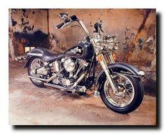 1967 White Shovelhead Harley Davidson Vintage Motorcycle Bike Art Framed Picture