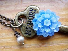 Antique Brass Romantic Memory Key Necklace by autumnraincreations, $30.00