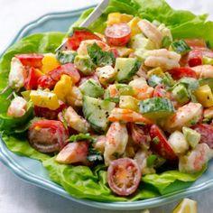 {recipe} Greek Yogurt Shrimp, Avocado and Tomato Salad - creamy, healthy & high in protein salad. You won
