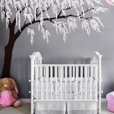 Weeping Willow Tree Decal with Cherry Blossoms For Nursery