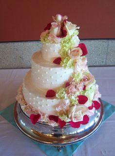 Trifles' Swiss Dot & Fresh Flower Wedding Cake