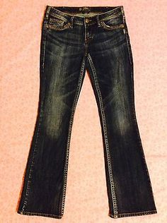 Silver Brand Jeans Aiko Size 29/33 Low Rise Boot Cut Stretch Dark ...