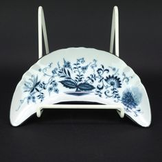 Blue Onion Pattern China, Crescent Shape Bone Plate or Salad Snack Plate, Vintage Blue and White Porcelain by LiliesLegacies on Etsy