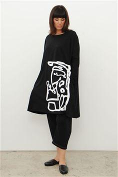 Moyuru Long Black Stretch Cotton Jersey Tunic with White Print