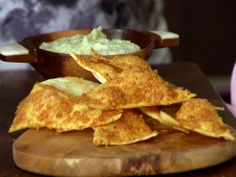 Roasted Garlic-Asiago Dip with Homemade Crackers Recipe : Anne Burrell : Food Network - FoodNetwork.com