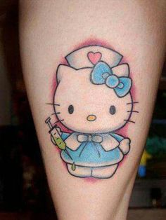 Hello Kitty would make a phenomenal nurse. #inked #inkedmag #tattoo #nurse #hello #kitty #colorful