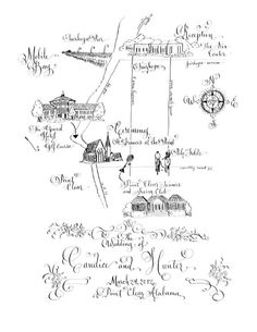 Custom Wedding Map - Hand Drawn Art Map - Hand Lettering and Hand Illustration - Digital - So many Details, So much Personality & Charm