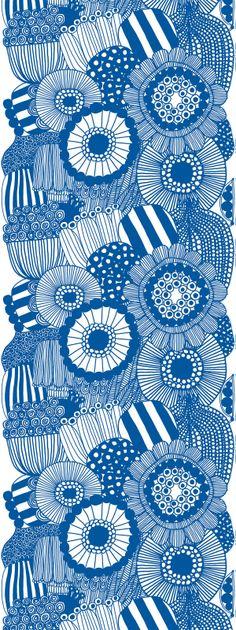 Marimekko Fabric, Siirtolapuutarha in blue, Heavyweight Cotton, Motifs Textiles, Textile Patterns, Print Patterns, Floral Patterns, Floral Designs, Marimekko Wallpaper, Marimekko Fabric, Design Textile, Fabric Design
