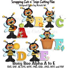 Busy Bee Alpha A to F Cutting Files Sets