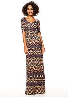 Abbie Elbow Sleeve Scoop Maxi Dress