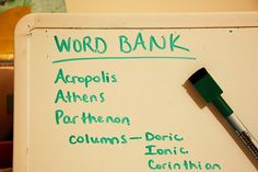 word bank on white board